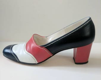 Red White and Blue Striped 60s Heels Size 7 Narrow