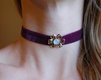 Burgundy Velvet Choker Necklace with Vintage Flower Pendant Opal Center