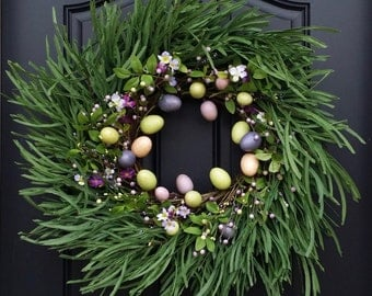 Easter Egg Wreaths, Easter Egg Hunt, Easter Wreaths, Pastel Eggs for Easter, Front Door Wreath, Easter Wreath for Front Door