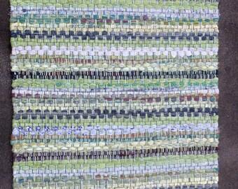 Handwoven Cotton Rag Rug, Striped Greens, Yellows, Grays