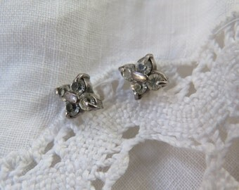 Antique Georgian Earrings Clear Paste Sterling Silver Silver Posts