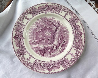 "Vintage Purple Transferware Dinner Plate Rural Scenes/Royal Staffordshire Dinnerware by Clarice Cliff 9-7/8"""