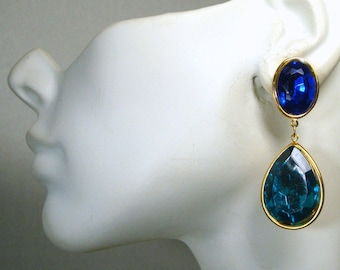 SALE Earrings, Cobalt Blue n Turquoise Rhinestone Teardrop Post Dangles, Gold 1993 Unused,Gift Worthy, Quantity for Bridesmaids Available