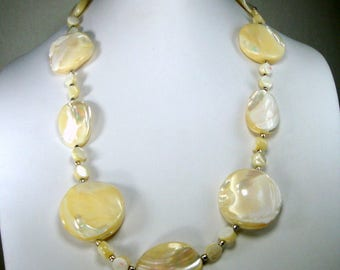 Chunky Mother of Pearl  Bead  Necklace, 1950s, Mermaid Beach Summer July 4th,  White Luminous MOP Seashells, Shell