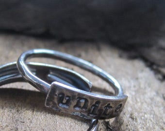 simple truths ring - unite -  sterling silver