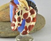 Giraffe Focal Bead Sculpture - Flameworked Glass Bead - Handmade Lampwork Glass Sculpture Bead