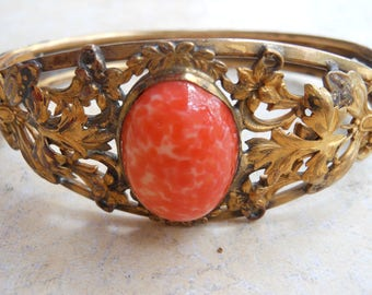 Sale! Art Nouveau Edwardian Brass with Gold Bracelet Peking Glass Jewelry bracelet layered Moth,Dragon Fly Orange Stone Vines Flowers Hinged