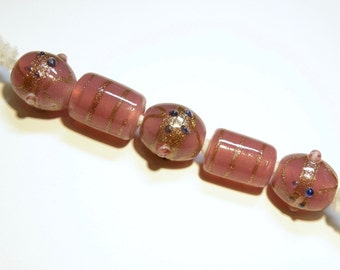 DESTASH - Five (5) Assorted Lampwork Beads: Opaque Dusty Rose with Goldstone Accents  --  Lot 3K