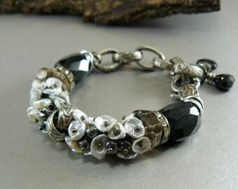 Tuxedo Statement Bracelet with Keshi pearls hematite smokey quartz onyx rhinestones spinel charms Clasp Adjustable industrial modern artisan
