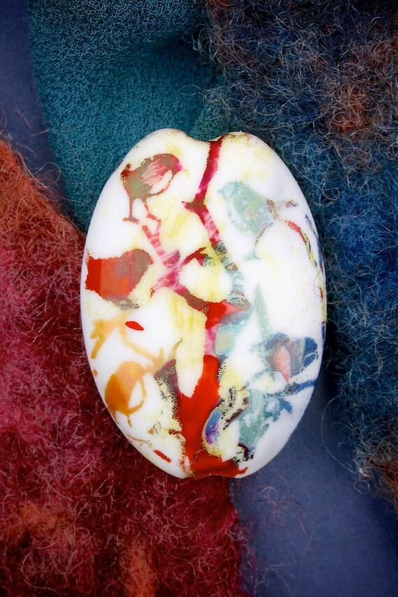 "Lampwork Glass Beads SRA ""Birdies"" Handmade Sandblasted Glass ~ Iridescent Lustre Oval Bead"