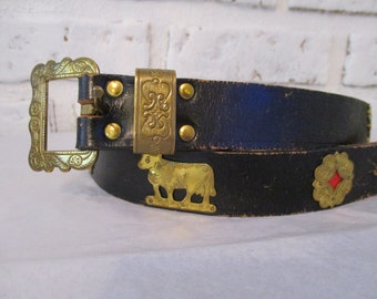 Vintage Appenzeller Black Swiss Leather Belt with Stamped Brass Cow Ornaments Made in Switzerland