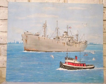 Vintage Original Acrylic on Canvas Board WWII Liberty Cargo Ship Painting Signed John F. Leonard Arizona