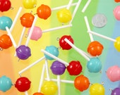 Fake Lollipops - 20mm Little Lollipop Round Plastic Pendants or Resin Charms - 6 pc set