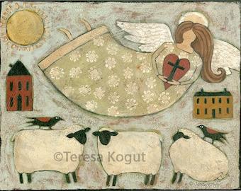 Home Decor | Wall Art |  | 11x14 | Faith | Folkart | print on wood | Teresa Kogut