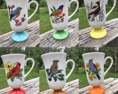 RESERVEDFred Roberts Co Set 6 Vintage Song Bird Coffee Mugs Pedestal Porcelain Coffee Cups Made in Japan Colorful Retro Kitchenware Giftware
