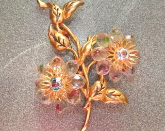 LARGE 1960s Regina floral brooch - charity for cats and kittens