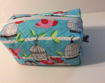Light Aqua toiletry zipper bag with red birds quilted and lined cotton fabrics
