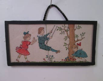 """Antique Dollhouse Lithographed Wall Hanging Picture - 3 1/2"""" Long"""