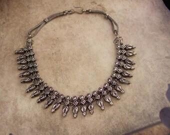 Art Nouveau choker Vintage Nouveau Festoon ornate Drop necklace silver tribal leaf antique jewelry