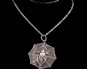 "Reserved for Meghan Antique Victorian necklace / sterling Spider Web /  Gothic necklace / estate jewelry / 16"" chain"