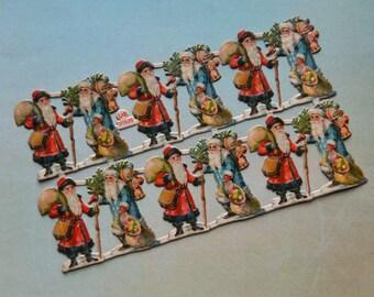Antique L & B Santa Claus Miniature Embossed Victorian Scraps Full Sheet of 12