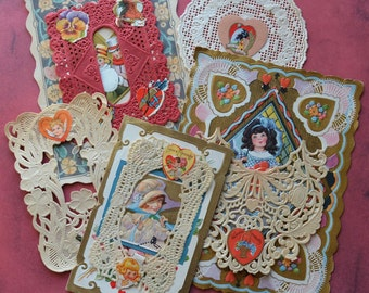 Vintage Valentine Cards with Paper Lace
