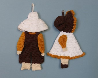 Crocheted Sunbonnet Sue & Sam Pot Holders Vintage 1960s 70s Kitchen Decor