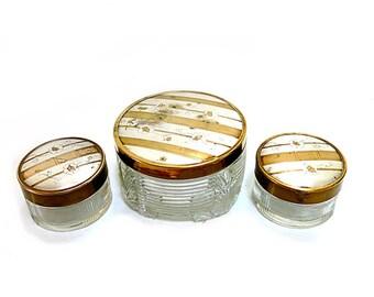 Vintage Dresser Vanity Jars Set of 3 Gold Silver Patterned Lids