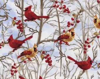 Cardinal Birds with Winter Background Fabric by Timeless Treasures (by the yard)