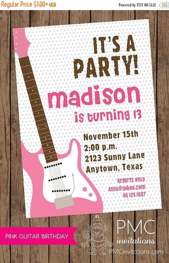 ON SALE Pink Guitar Music Girl Birthday Party Invitations - 1.00 each with envelope