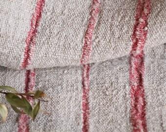 B 840 : Grain Sack antique linen, FADED RED pillow benchcushion 리넨, lin, 37.80 long, wedding, decoration