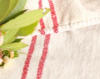 B 898 : Grain Sack antique linen, beautiful BRIGHT RED, pillow benchcushion, 리넨, lin, 43.31long, wedding, decoration