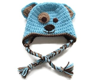 Crochet Puppy Hat - Crochet Dog Hat -Blue & Brown Puppy Earflap Baby Hat - Size 6 to 9 Months - Crochet- Puppy Dog Baby Hat