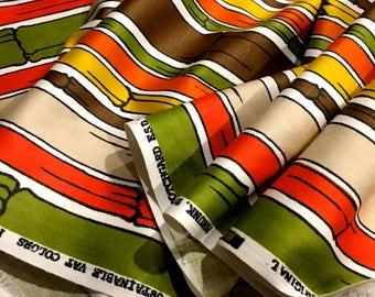 The Big Bamboo Groovy 70's Graphic Design Fabric  / /Julian Tompchin Original// Cotton Yardage// Upholstery Drapery// New Old Stock// 10 YDS