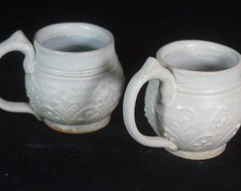 Elegant White  Mug, Coffee Mug, Coffee Cup, Tea Cup, Rustic Mug, Cottage Mug, Handmade Pottery