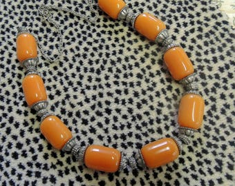 Vintage Ethnic African Resin, Tribal Necklace, Amber Colored Resin, Beaded BoHo, Hippie Necklace