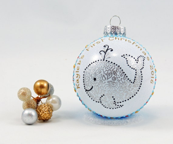 Baby Girl Christening Favors Glass Ornament: Baby's First Christmas Ornament Personalized Hand