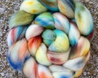Hand dyed Cheviot, 100g, hand painted British wool top, roving, felting fibre, fiber, spinning wool, Rambler