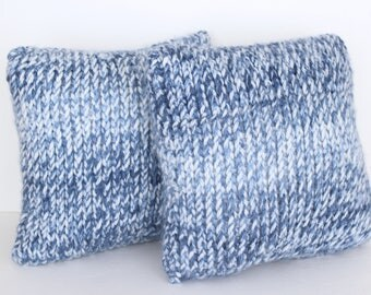 CLEARANCE - Hand Knit Throw Pillows in Blue Splash - 12 inch Pillows - Accent Pillow - Cushion - Decorative Pillow