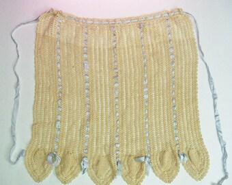 VIntage Antique Crochet Lace Apron beige with blue satin ribbonwork