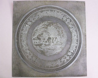 Vintage Metal Printing Plate Floral and Farm Scene for printing on a plate repurpose as leather stamp letterpress or what you can think of