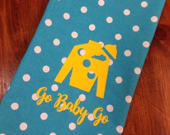 Aqua polka dot hand towel with yellow Jockey Silk, Kentucky Derby hand towel, Derby decor