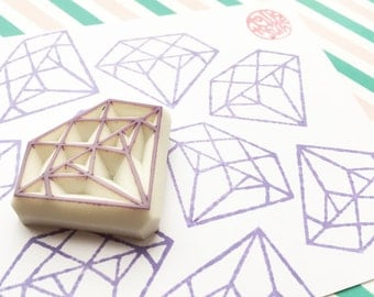 diamond stamp. gemstone hand carved rubber stamp. diy birthday wedding christmas. scrapbooking. gift wrapping. holiday crafts. large. no2