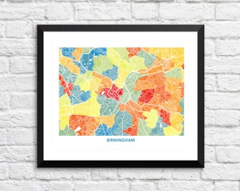 Birmingham England Map Print.  Choose the Colors and Size.  English Art.  Perfect for your Travel Themed Gallery Wall