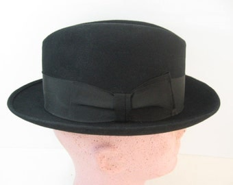 Men's 50s 60s Vintage Hat Black Homburg Fedora Fur Felt, Westfield, Gangster, Formal Dress, Business Suit, Casual Chapeau, Size 7 1/8