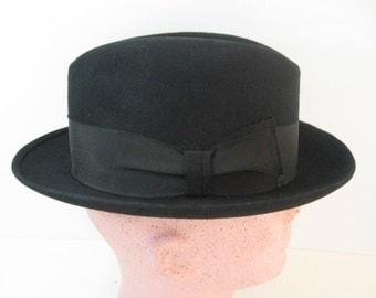 Men's 50s 60s Vintage Hat Black Homburg Fedora Fur Felt, Westfield,  Mid Century Gangster, Formal Dress, Business Suit or Casual Size 7 1/8
