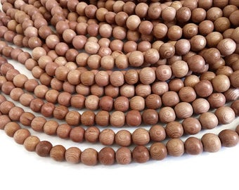 Rosewood beads 10mm - Natural Mala Wooden Beads - 40pcs