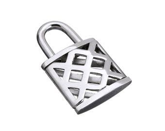1 Lock pendant stainless steel 3D charms 20x33mm
