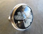 Stupendous Chinese Writitng Stone Ring in Sterling Silver