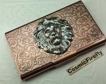 Copper Lion Business Card Case Steampunk Card Case Card Holder Gothic Victorian Style Card Case Handcrafted Card Case Big Silver Lion Head